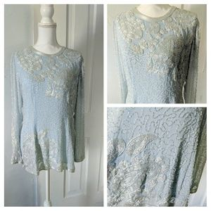Beaded BabyBlue EveningTop Size 10 Downton Abbey